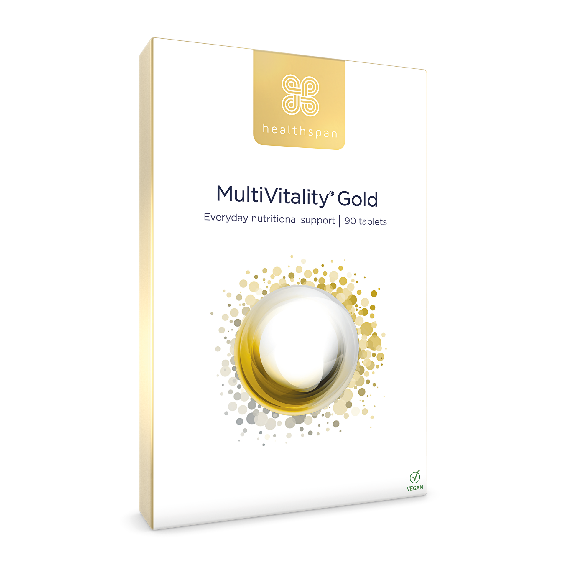 MultiVitality Gold Pack. 90 Tablets. Everyday nutritional support.